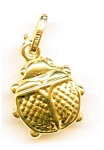 Beetle lady bug 14K yellow gold  puffed pendant