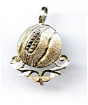 Click here to enlarge image and see more about item jfbskt6: Basketball 14k gold pendant charm
