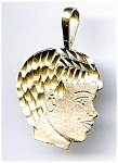 Click here to enlarge image and see more about item jfbyhd1: Boys Head 14k gold pendant or charm