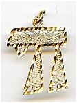 Click here to enlarge image and see more about item jfchai3: 14K gold Chai or Chi Jewish pendant