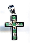 Emerald and Diamond 14K white gold cross