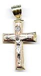 Click here to enlarge image and see more about item jfcru1: 14K three color gold large crucifix
