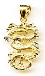 Dragon 14K yellow gold large pendant