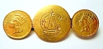 Antique vintage Victorian gold coin brooch 1871