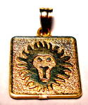 Click here to enlarge image and see more about item jfglpdt1: Vintage 14k gold Leo Lion Astrological pendant