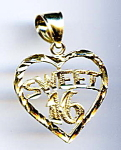 Click here to enlarge image and see more about item jfhrt4:  'Sweet 16' 14K  gold diamond cut heart pendant
