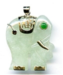Click here to enlarge image and see more about item jfjaele1: Burmese Apple Jade 14k gold Elephant pendant
