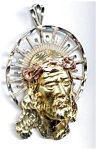 Click here to enlarge image and see more about item jfjc1: Jesus face three color gold large pendant