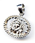 Click here to enlarge image and see more about item jfjeova2: Jesus head 14k white gold pendant