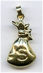 Click here to enlarge image and see more about item jfmb37: Money Bag 14k gold pendant