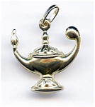 14k gold Aladin's magic lamp pendant or charm