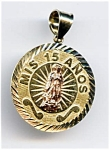 Click here to enlarge image and see more about item jfmoma56: Mis 15 Anos 14k gold Blessed Virgin Mary pendant