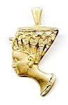 Nefertiti Egyptian 14K yellow gold diamond cut pendant