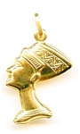 Click here to enlarge image and see more about item jfnef4: 14K Yellow Gold Nefertiti Egyptian Puffed Pendant
