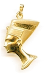 Click here to enlarge image and see more about item jfnef5: 14K Yellow Gold Nefertiti Egyptian Puffed Pendant