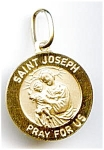 Saint Joseph pray for us 14k gold pendant