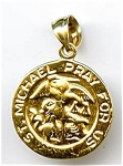Click here to enlarge image and see more about item jfstmic22: Saint Michael 14k gold pendant