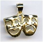Click here to enlarge image and see more about item jftrcom35: Tragedy Comedy Masks 14k gold pendant