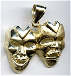 Click here to enlarge image and see more about item jftrcom36: 14k gold Comedy Tragedy theatrical masks pendant