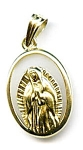 Virgin Mary Madonna white lace agate 14k gold pendant