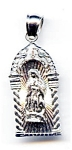 Virgin Mary in radiant arch 14k white gold pendant