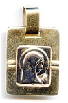 Click to view larger image of Virgin Mary Madonna 14k white and yellow gold pendant (Image1)