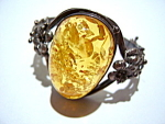 Click here to enlarge image and see more about item jsamb1: Vintage amber sterling silver  bracelet