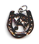 Click here to enlarge image and see more about item jshrsshoe11:  Vintage horseshoe horse head sterling silver pendant