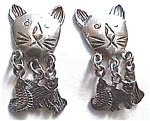 Cat and  kittens sterling silver vintage earrings