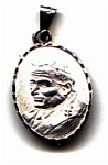Click here to enlarge image and see more about item jsmar8: Pope John Paul two sided oval sterling silver pendant