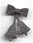 Click here to enlarge image and see more about item jsmarcbell1: Bow and bell sterling silver marcasite brooch or pin