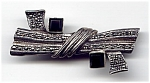 Click here to enlarge image and see more about item jsmaronyx1: Sterling Silver Marcasite Black Onyx Brooch