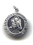 Click here to enlarge image and see more about item jsstan2: Saint Anthony sterling silver round pendant