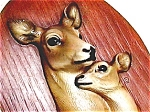 Click here to enlarge image and see more about item m1: Doe & Fawn vintage wall plaque