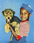 Click here to enlarge image and see more about item mb2: 1950s Calendar print African American child w/ dog