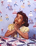 Click here to enlarge image and see more about item mb6: 1950s calendar print African American girl praying