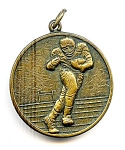 Click to view larger image of Football player vintage bronze pendant medallion (Image1)