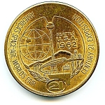 Click here to enlarge image and see more about item mdswf624: Vintage Seattle World's Fair 1962  medallion