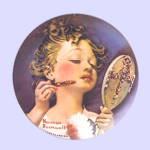Click here to enlarge image and see more about item nrpltmbmrr2: Norman Rockwell plate 'Making Believe in the Mirror'