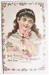 Click here to enlarge image and see more about item pan4: Vintage ad sewing machine girl with pink rose
