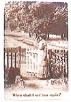 Vintage Postcard - Woman at the Gate
