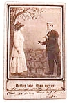 Click here to enlarge image and see more about item pc7: Vintage real photo postcard  Better Late Than Never