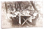 Click here to enlarge image and see more about item pc8: Vintage real photo postcard - 1908 Picnic