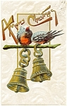 Click here to enlarge image and see more about item pcch53: Vintage Christmas Postcard Bells and Birds 1908