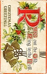 Vintage Christmas 1900s holly bells postcard