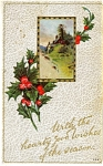 Click here to enlarge image and see more about item pcch62: Christmas postcard winter scene 1913