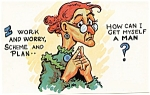 Click to view larger image of Postcard Humor Old Maid #143 (Image1)