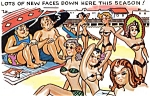 Click here to enlarge image and see more about item pchum5: Postcard Humor Beach Bikinis #182