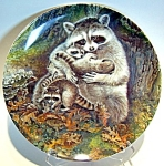 Click here to enlarge image and see more about item plape82: Collector plate raccoons 'A Protective Embrace' 1982