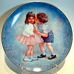 Click here to enlarge image and see more about item plfk81: First Kiss Rosemary Calder collector plate  1981